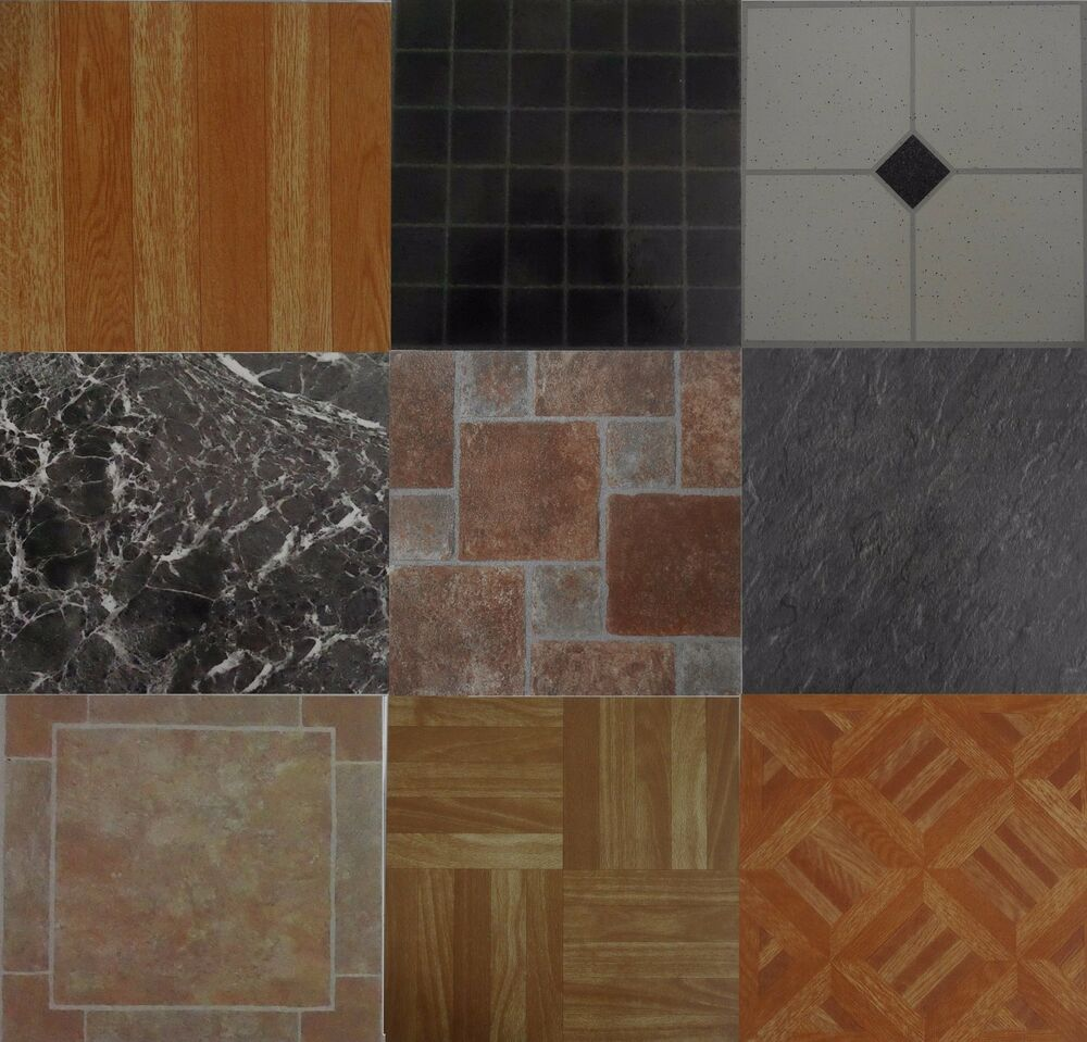 4 x vinyl floor tiles self adhesive bathroom kitchen for Vinyl kitchen floor tiles