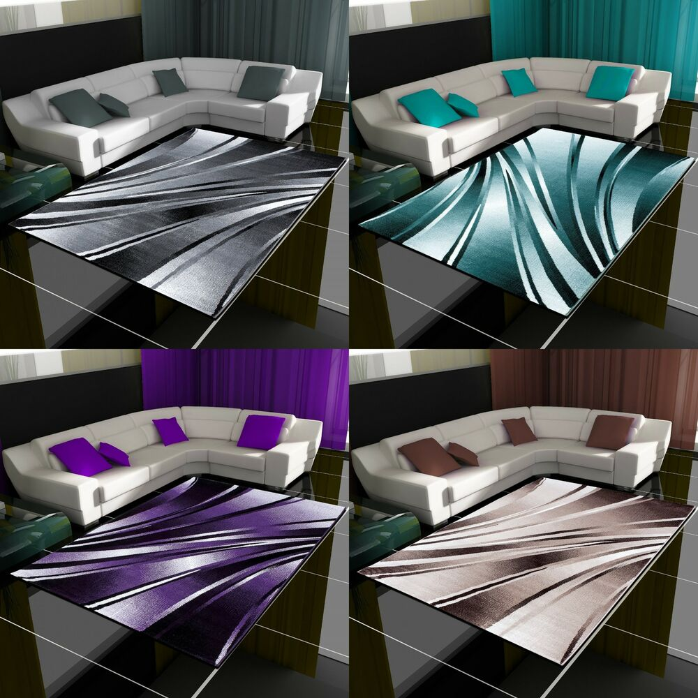 moderner design teppich wellen teppich kurzflor wohnzimmer versc farben gr en ebay. Black Bedroom Furniture Sets. Home Design Ideas
