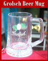 Vintage Logo GROLSCH Clear Glass Beer Cup Mug Stein with Handle Barware 12 oz