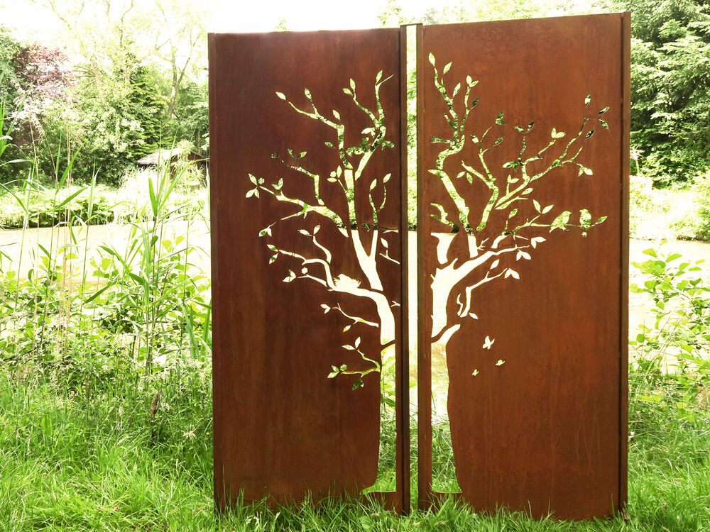 gartenwand sichtschutz wand diptychon baum stahl rost 150x195 cm ebay. Black Bedroom Furniture Sets. Home Design Ideas