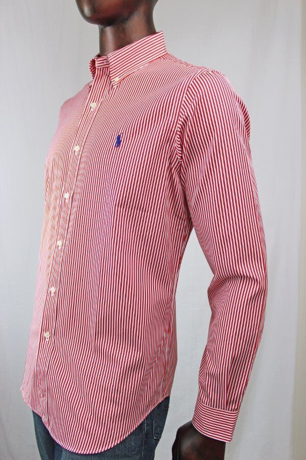 Ralph lauren long sleeve dress shirt red and white stripes for Blue and white long sleeve shirt