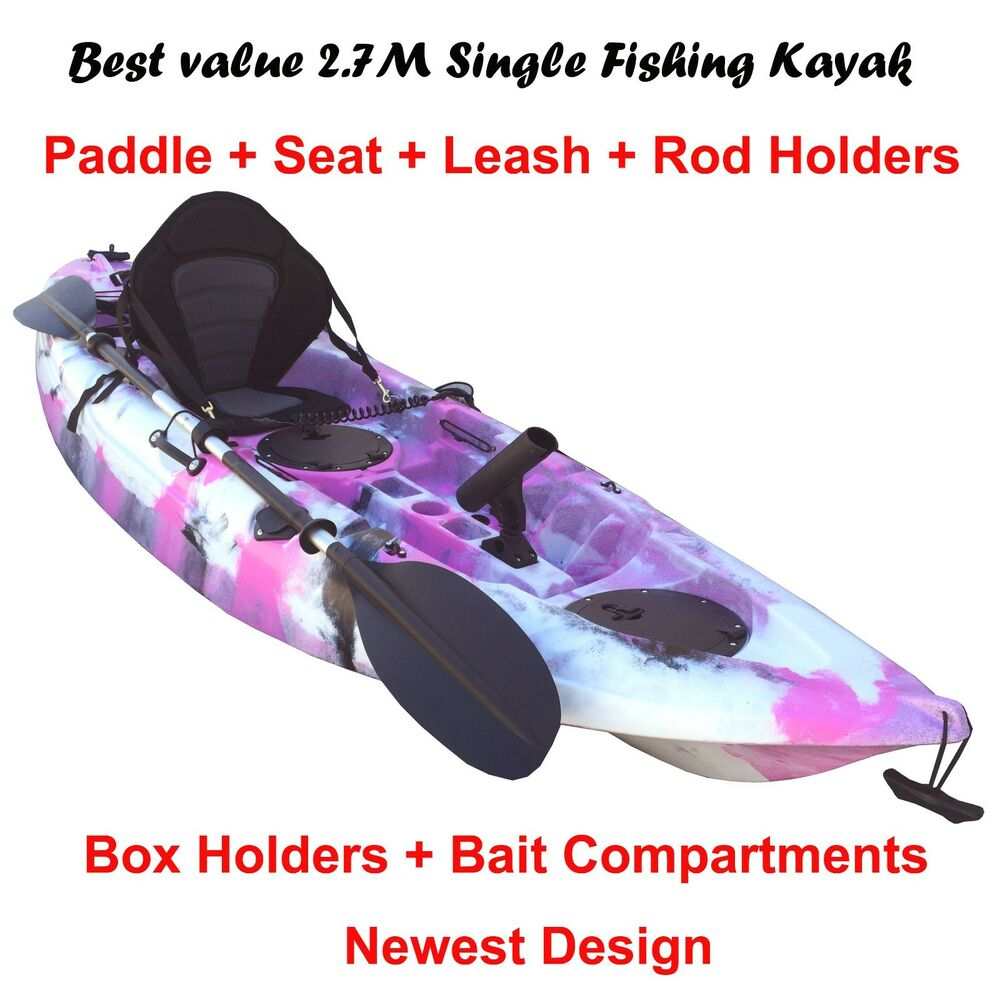 2 7m fishing kayak single sit on 5 rod holders padded seat for Pink camo fishing pole