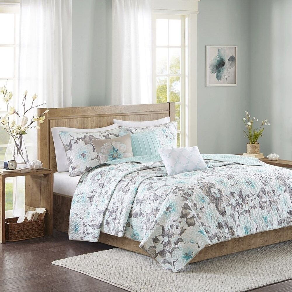 White Quilted Decorative Pillows : 6pc Aqua White & Grey Floral Quilted Coverlet Bedding Set AND Decorative Pillows eBay
