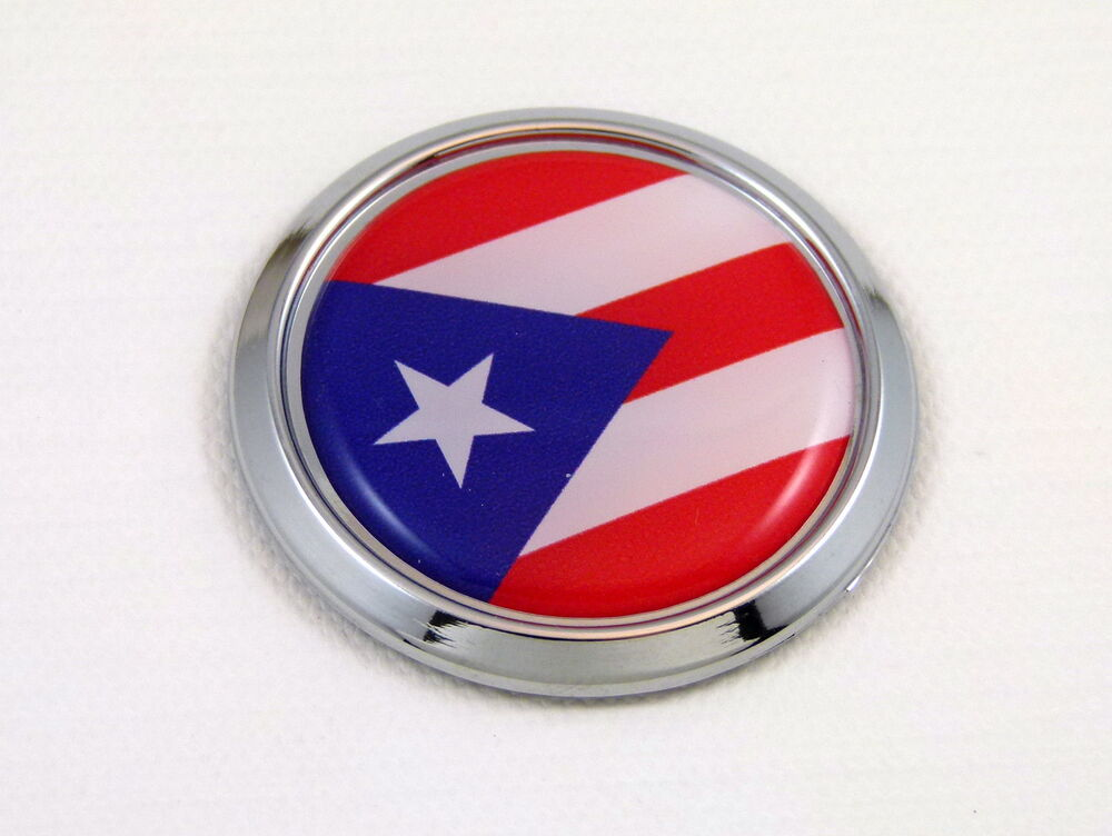 Puerto Rico Round Decal Flag Car Chrome Emblem Sticker