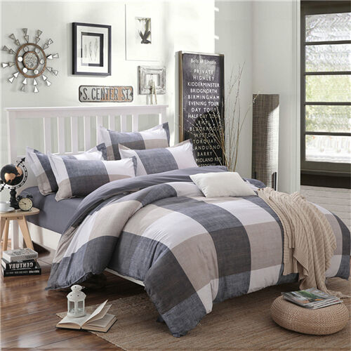 Grey Checked Home Single Queen King Size Bed Set