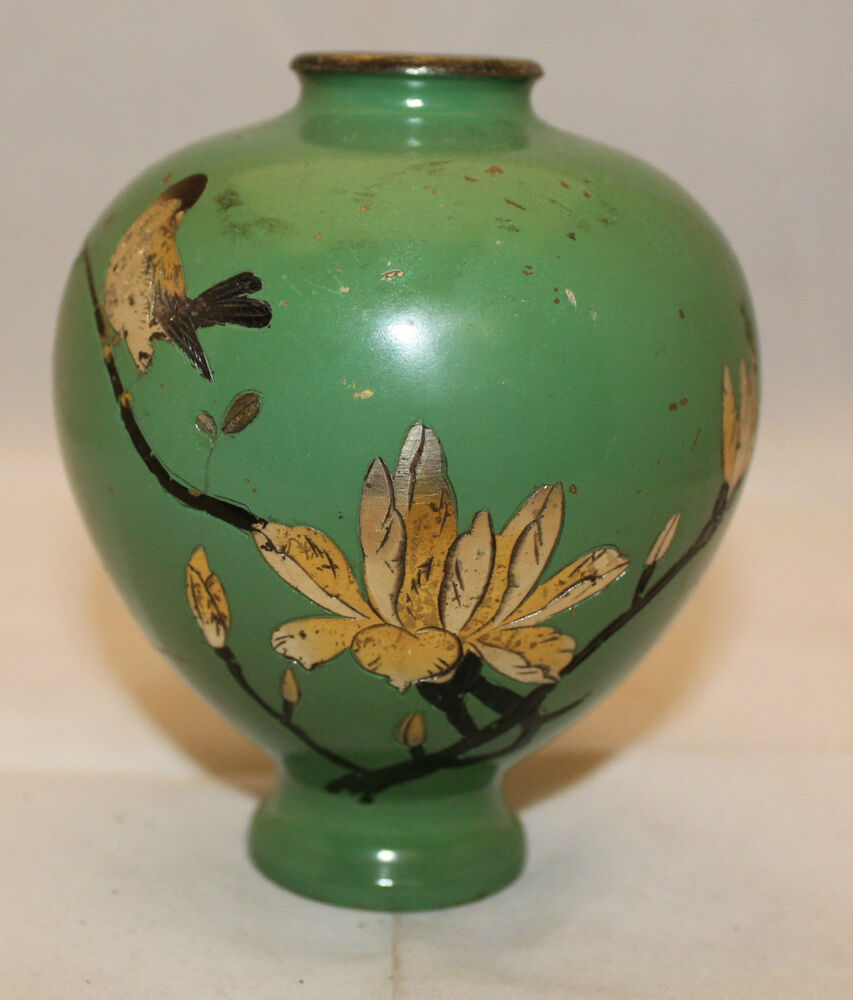 Vintage Asian Chinese Cloisonn 233 Matcha Light Green Flower Bud Vase Bird As Is Ebay