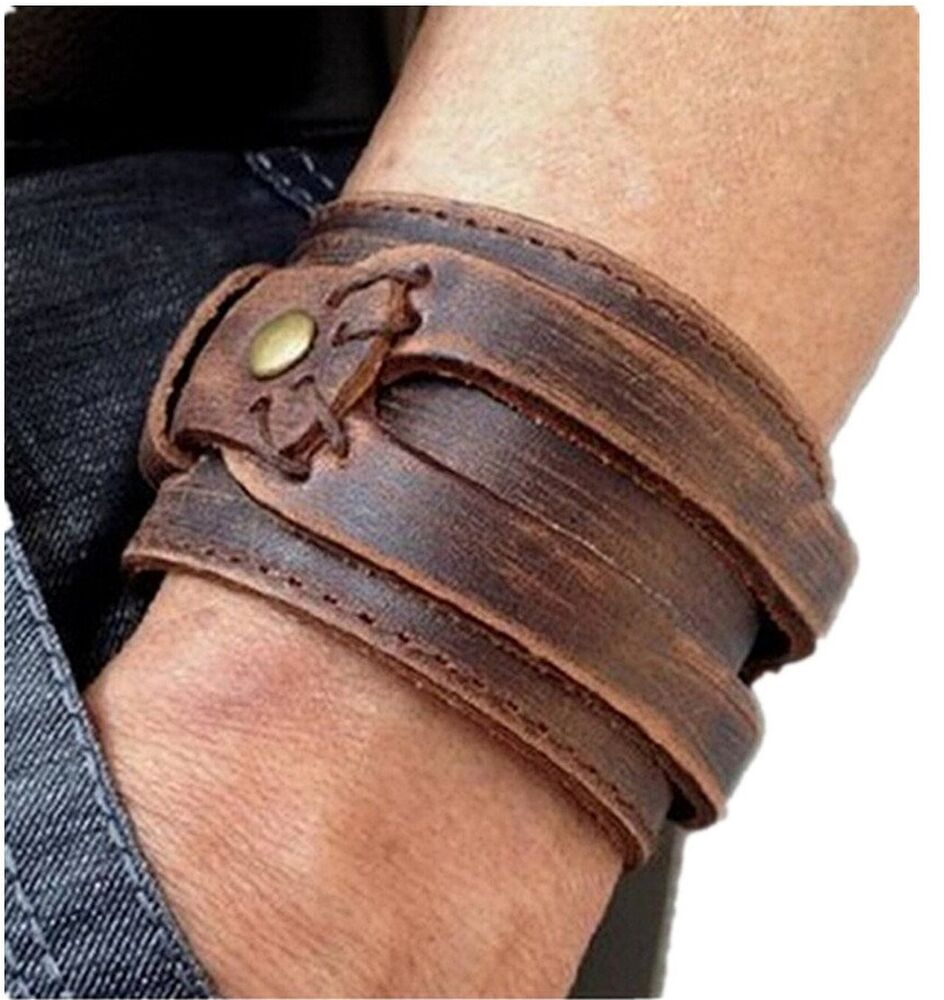 Brown Leather Men's Cuff Bracelet Wristbands Handcrafted ...