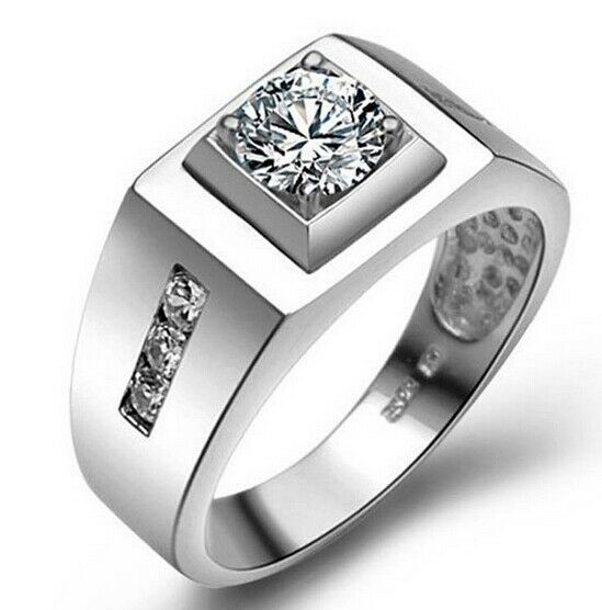 white gold plated men 39 s wedding ring with white cubic zirconia ebay