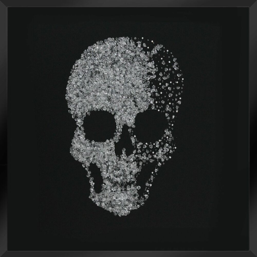 Luxury modern crystal skull wall art on black glass like mirror luxury modern crystal skull wall art on black glass like mirror gothic stunning ebay amipublicfo Image collections