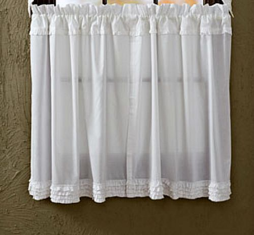 Shabby French Country Chic WHITE RUFFLED TIERS Sheer