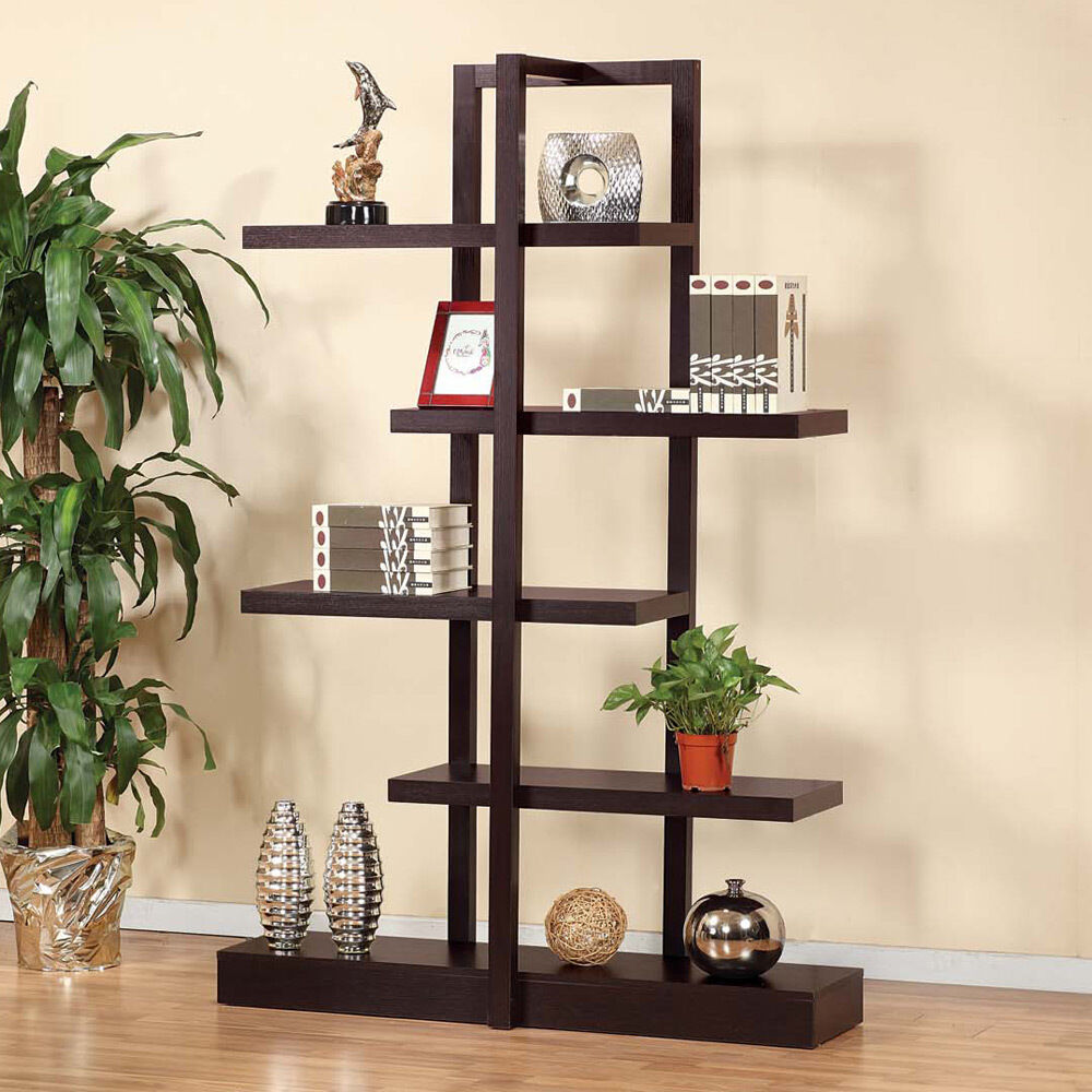 Contemporary Living Room Accent Display Stand Cabinet Bookcase Open Shelves Wood Ebay