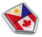 Canada Philippines Flag Canadian Philippinian Car Chrome Emblem Decal Auto