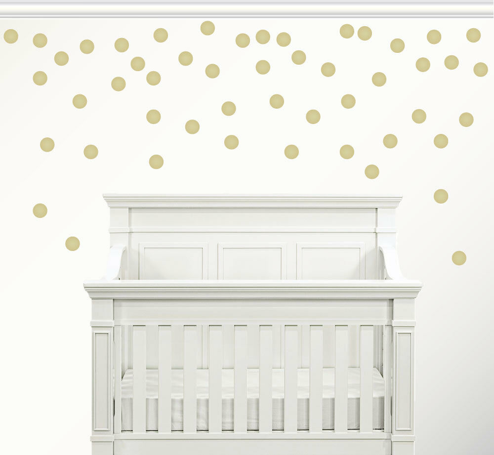 set of 50 gold circle confetti polka dot wall decal metallic vinyl decor new ebay. Black Bedroom Furniture Sets. Home Design Ideas
