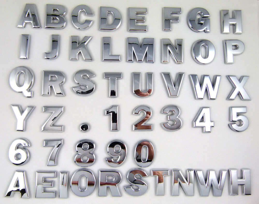 Car chrome emblem decals numbers letters more autos post for Chevy chrome letters