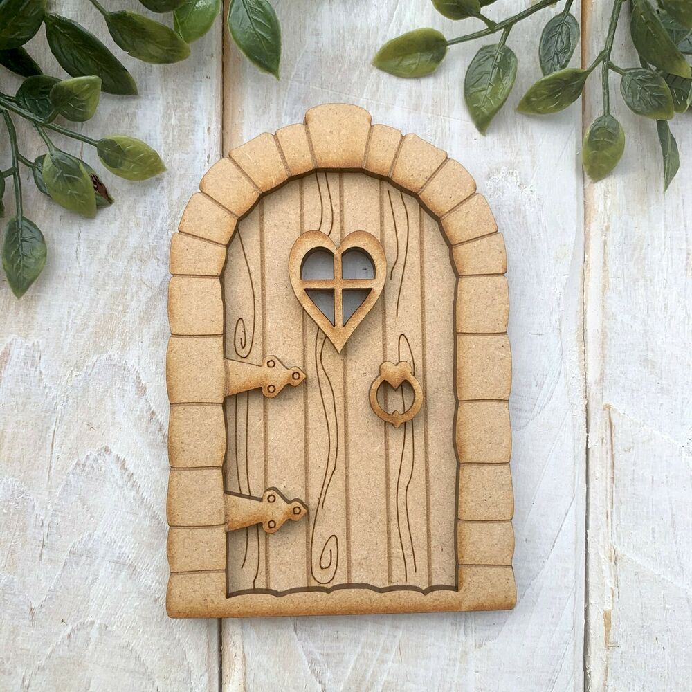 Wooden mdf fairy door kit decorate your own pixie hobbit for Wooden fairy doors