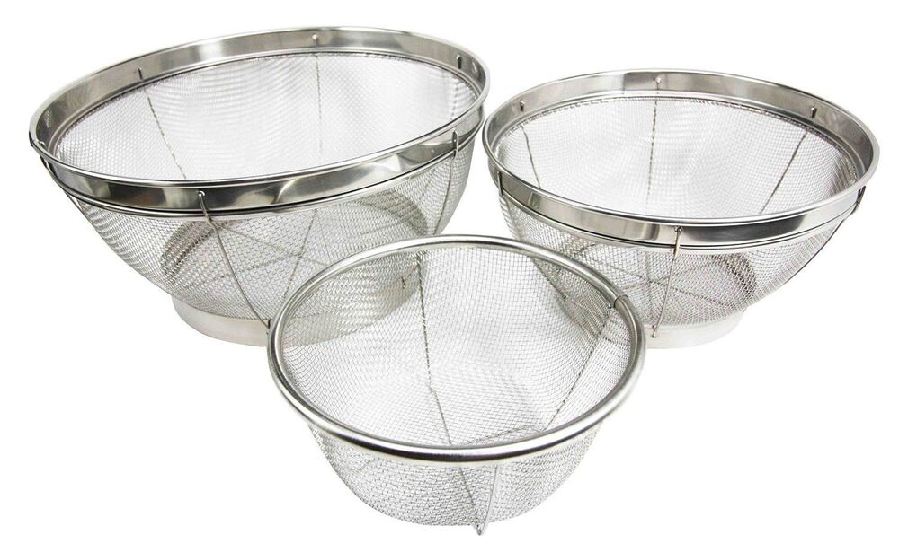 Set Of Three Wire Mesh Food Strainer Colander Stainless