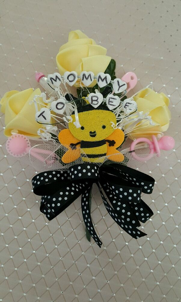 baby shower mommy to bee bumble bee corsage boy girl pink