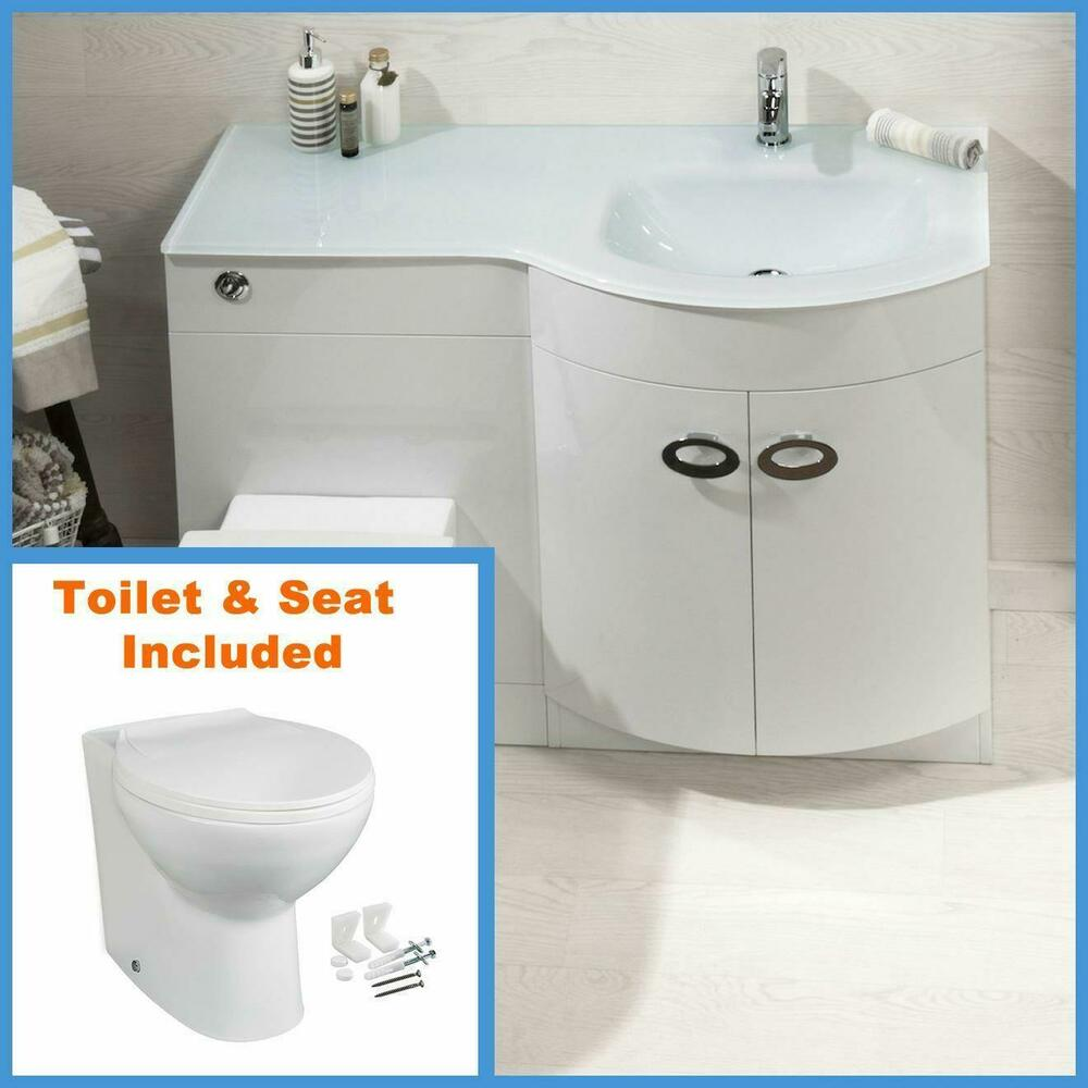 D Shape Bathroom Vanity Unit Basin Sink Bathroom WC Unit BTW Toilet White Glass