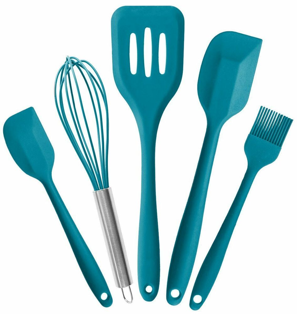 Silicone Kitchen Utensil Set (5 Piece) in Hygienic Solid Coating ...