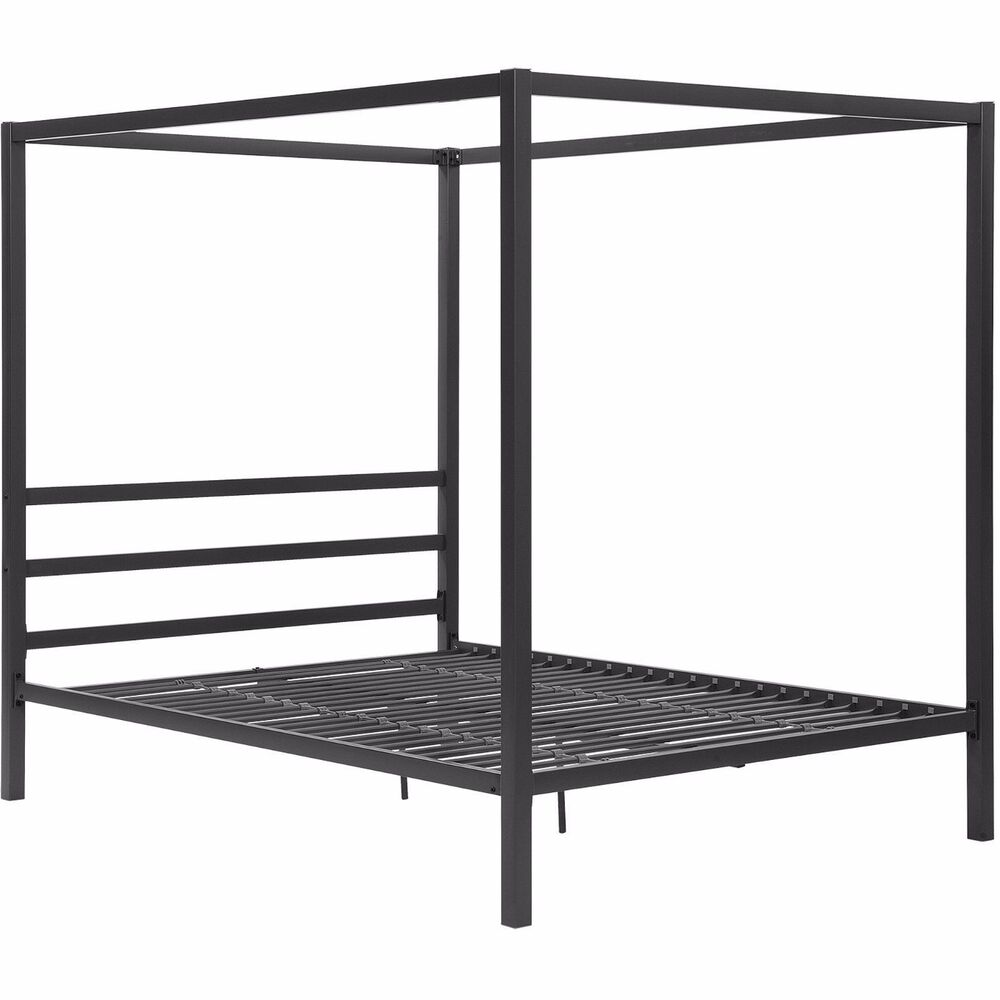 Metal Canopy Bed Frame Queen Size W Headboard Platform