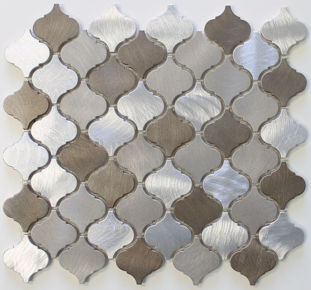 New amsterdam brushed aluminum arabesque mosaic tiles kitchen backsplash tile ebay Backsplash mosaic tile