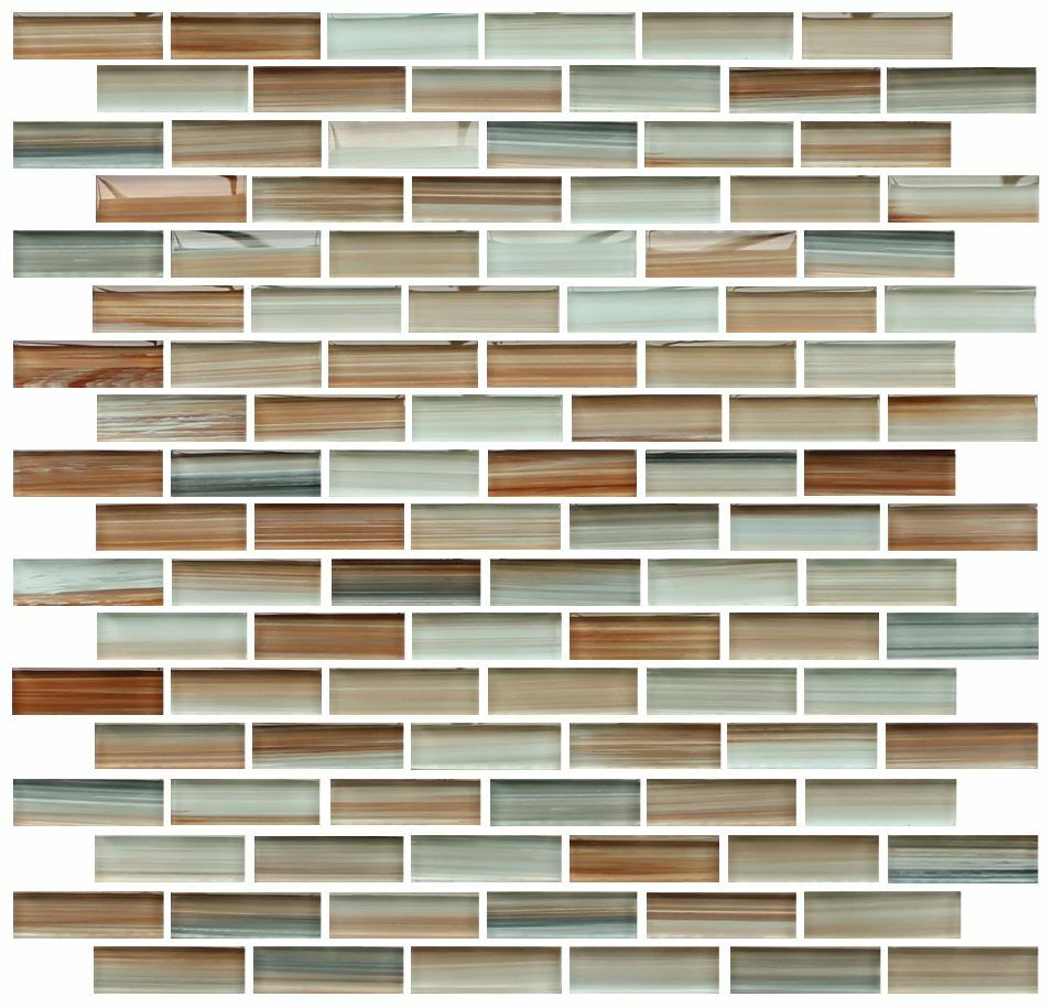 Sample Rustic Copper Linear Natural Slate Blend Mosaic: Sunset Beach Hand Painted Glass Mosaic Subway Tiles