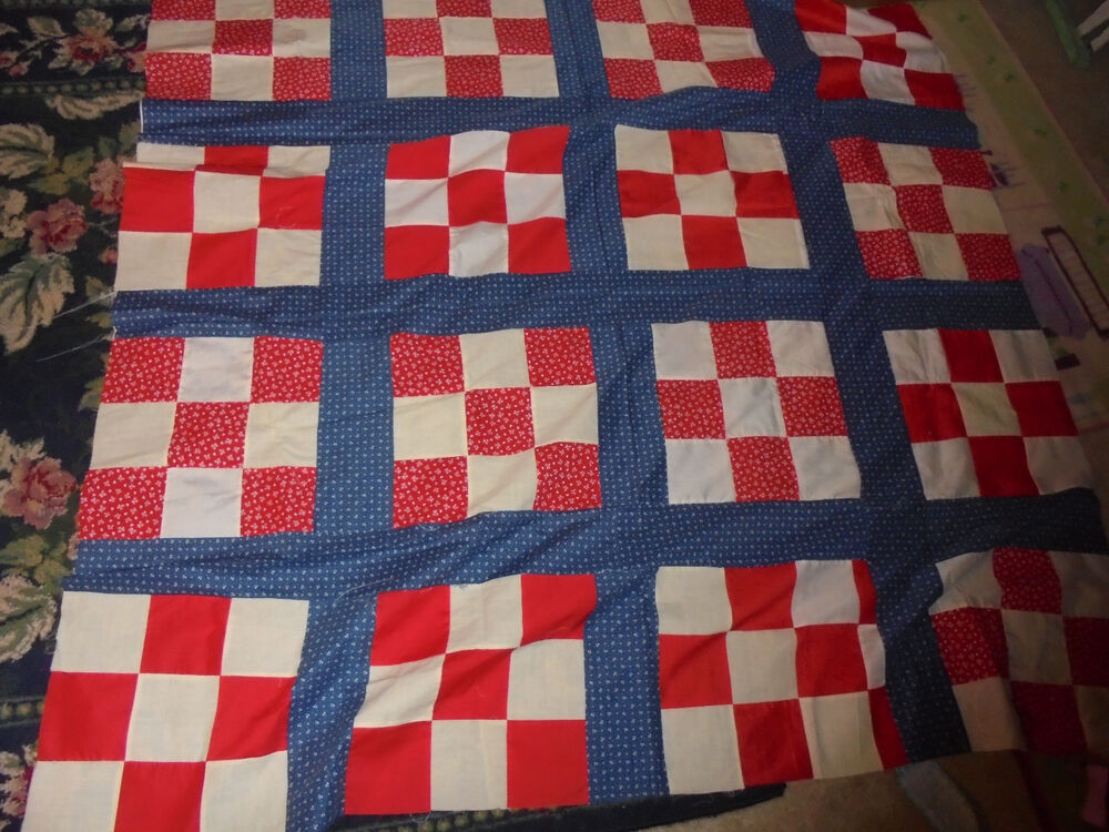 62x64 Quot Red White And Blue Squares Americana Country Fourth