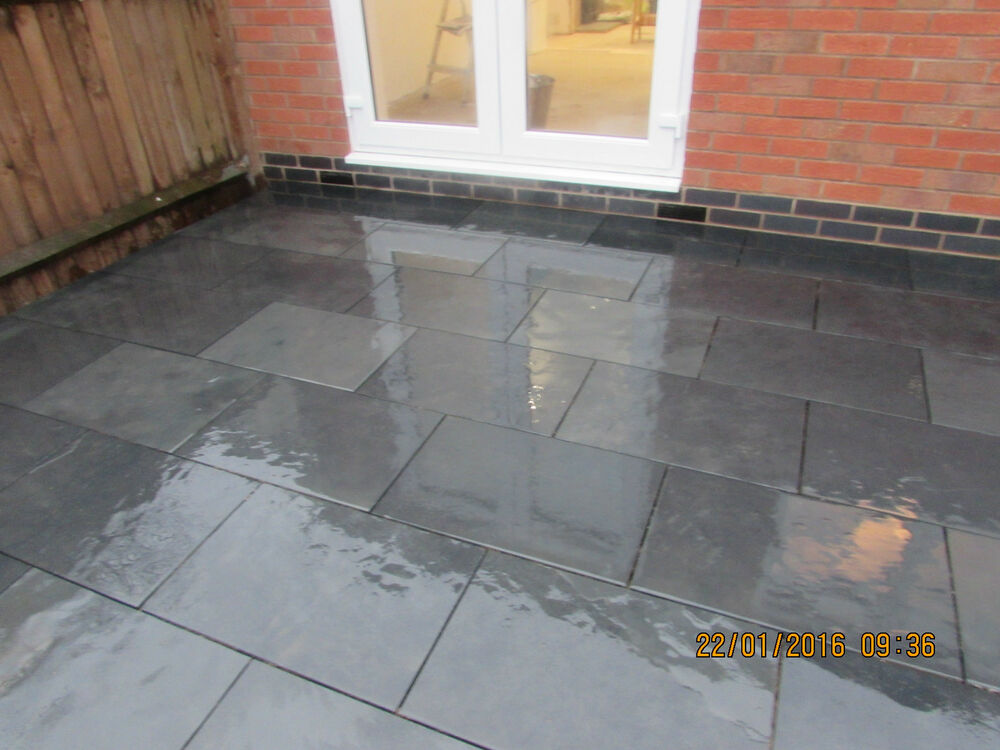 natural black slate paving garden patio slabs 10m2 600x400mm 15