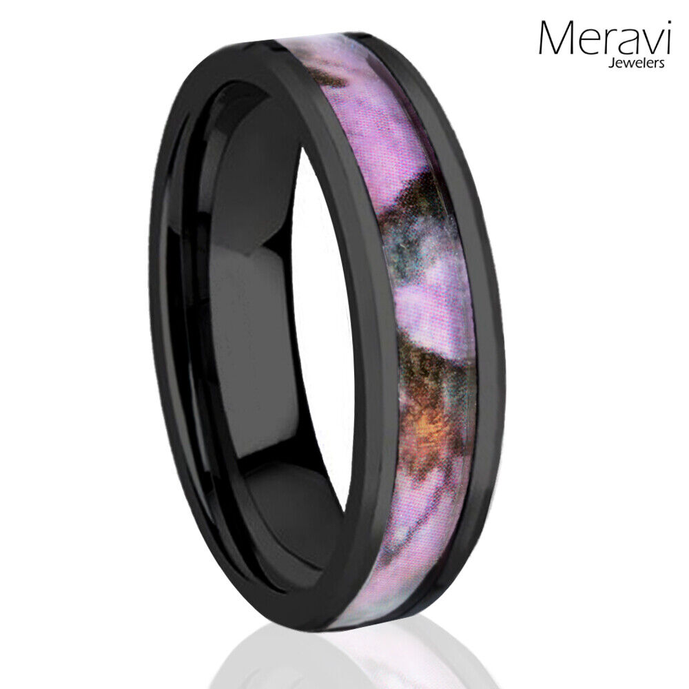 Pink Camo Wedding Rings: 6mm Titanium Black Real Oak Pink Tree Camo Ring Womens