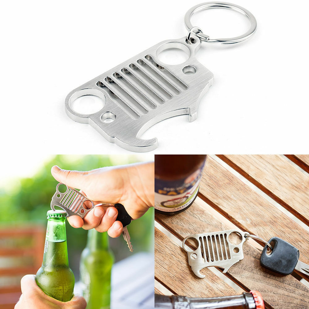 1x bottle opener type stainless steel jeep grill keychain keyring cj jk tj yj xj ebay. Black Bedroom Furniture Sets. Home Design Ideas