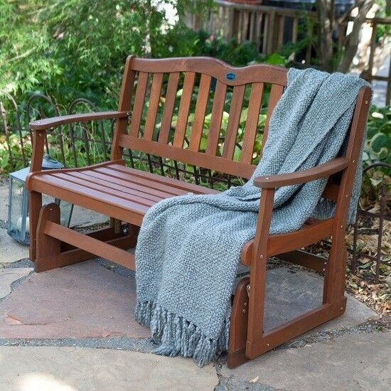 Wooden Loveseat Glider 2 Seater Outdoor Bench Furniture