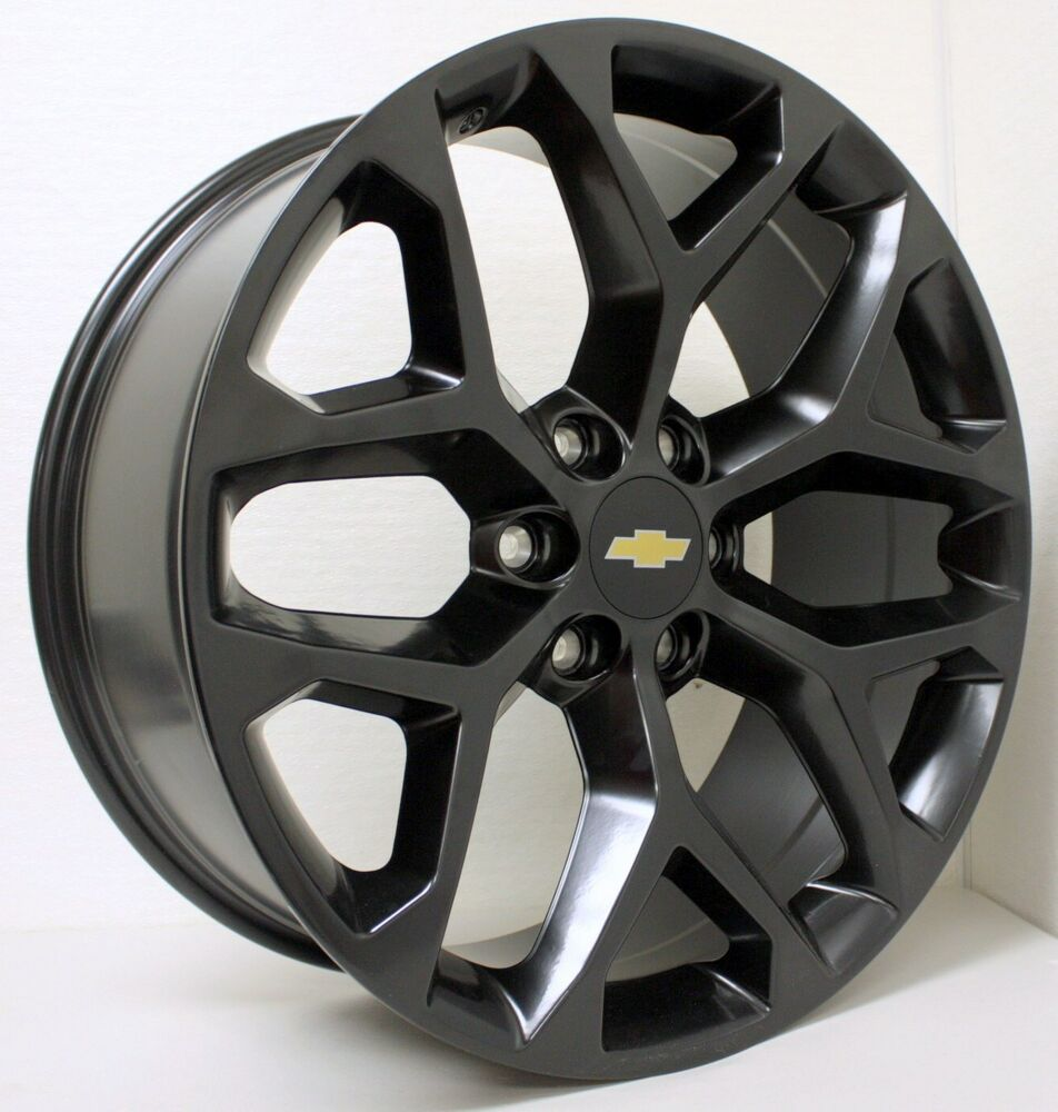 New 22 Inch Chevy Black Snowflake Wheels Rims Silverado