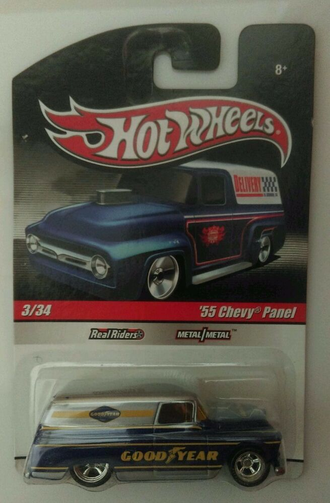 hot wheels delivery goodyear 39 55 chevy panel real riders ebay. Black Bedroom Furniture Sets. Home Design Ideas