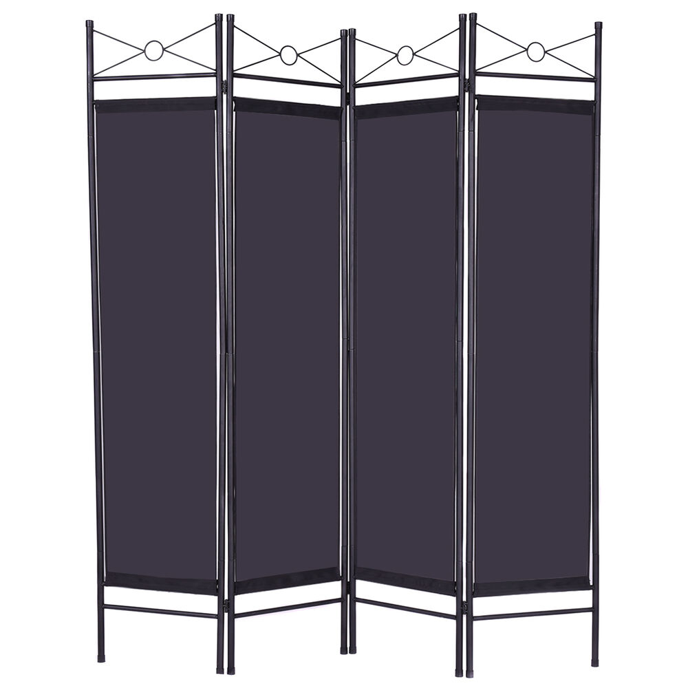 Folding 4 panel room divider screen privacy wall movable for Movable walls room partitions