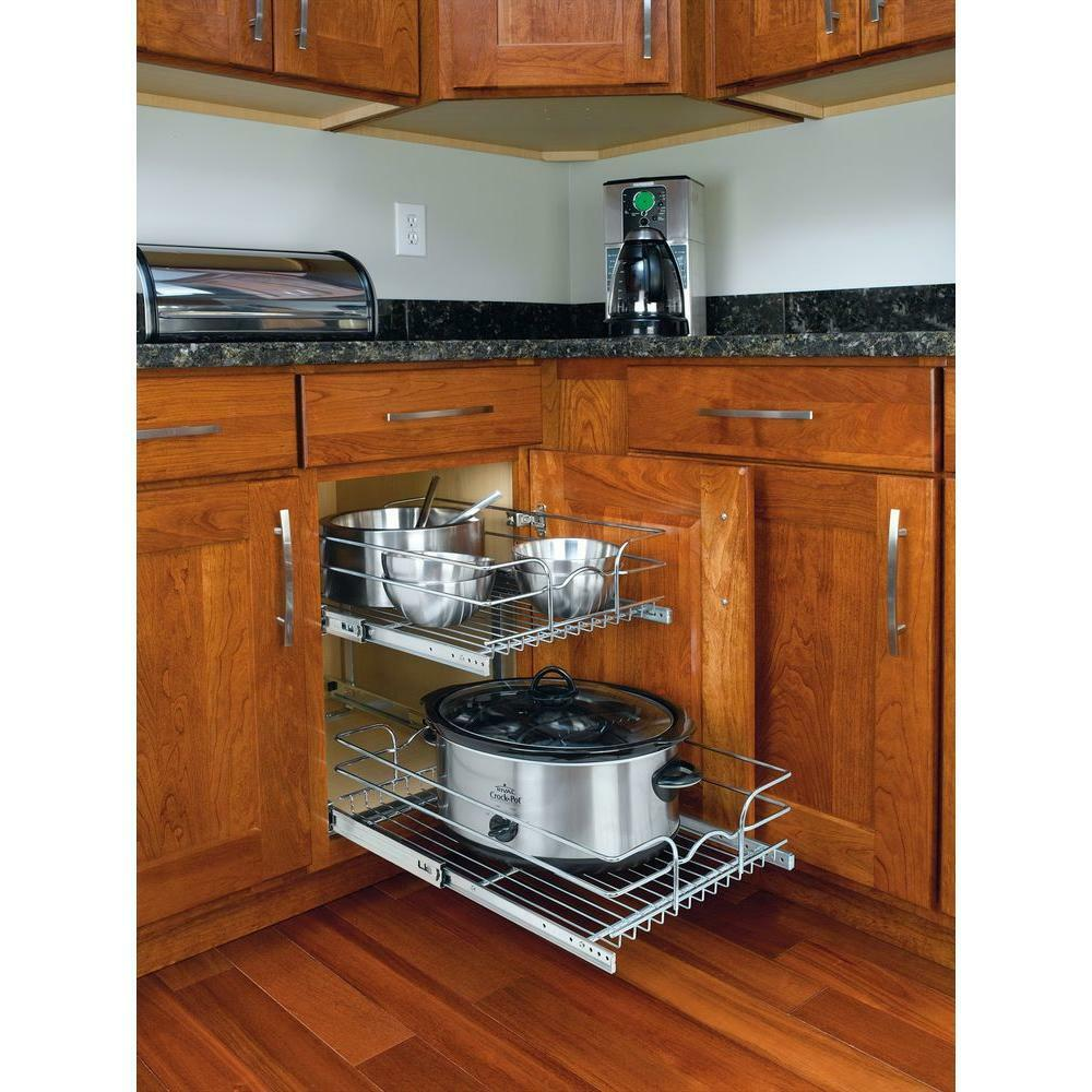 2 tier pull out wire basket base cabinet chrome kitchen for Kitchen cabinets storage