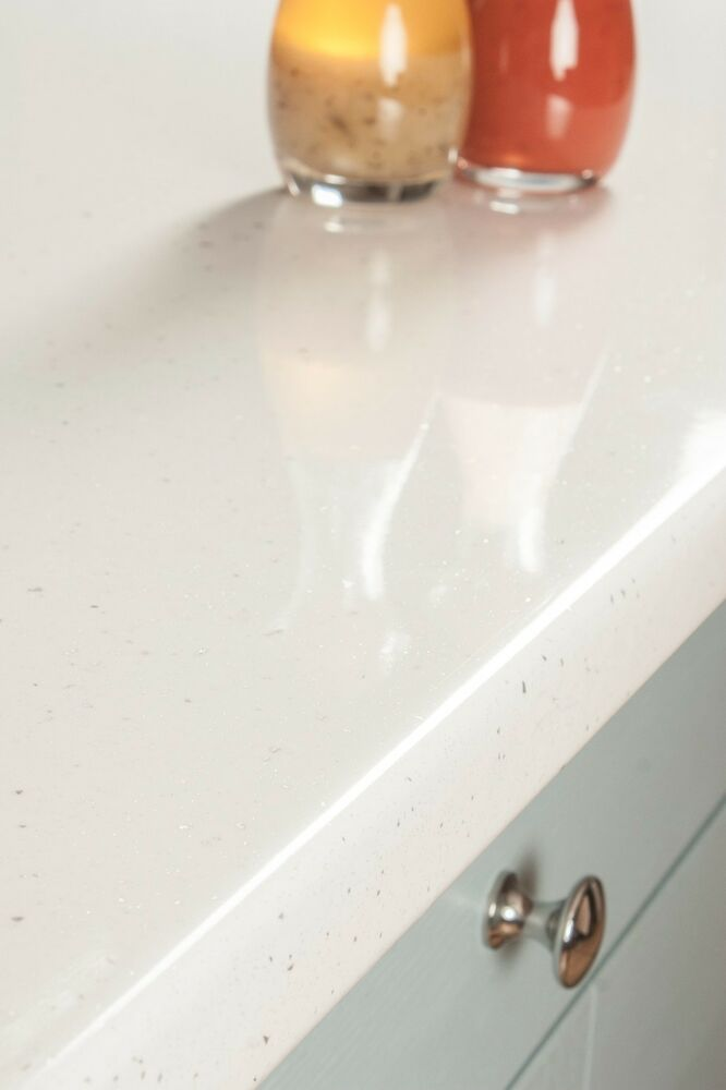 White Sparkle Andromeda Laminate Kitchen Worktop 4100 X