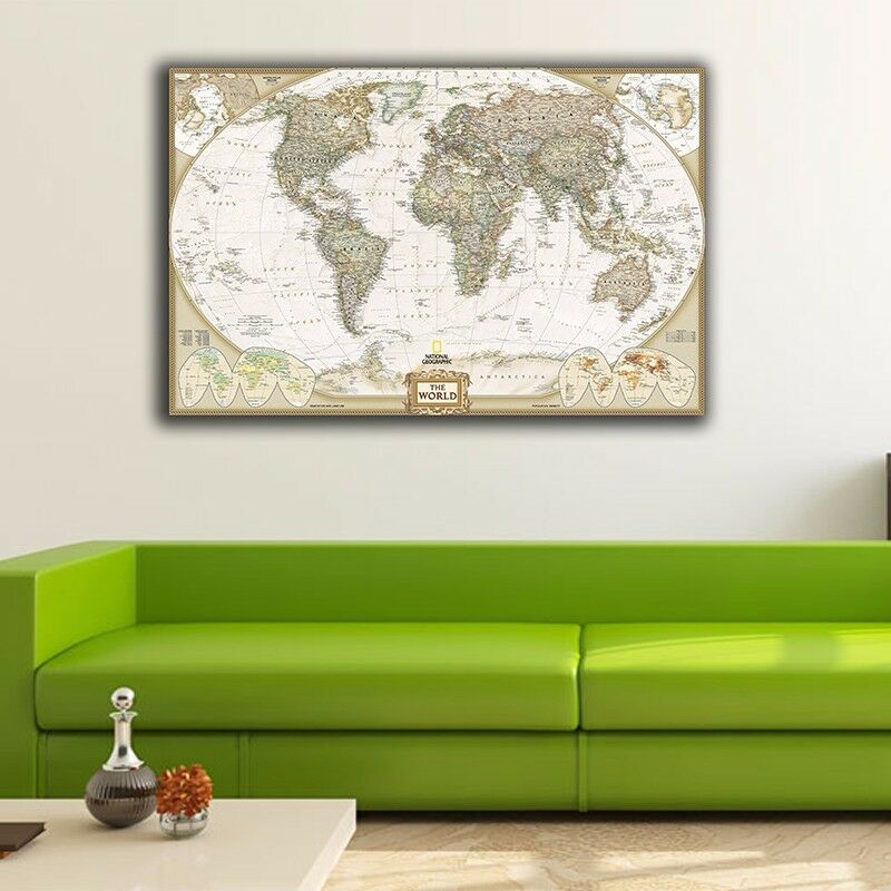 Vintage World Map Stretched Canvas Print Framed Wall Art