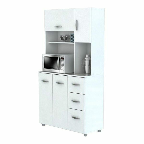 Kitchen Storage Cabinet White Pantry Organizer Cupboard