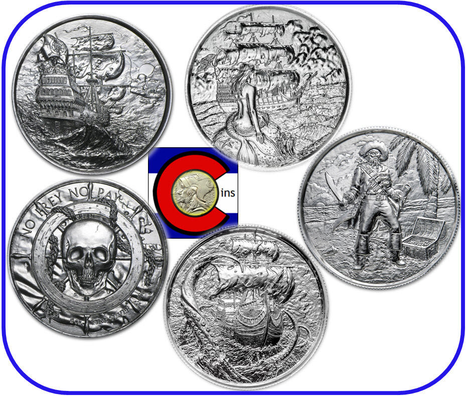 Silver Privateer Siren Captain Amp Kraken 2 Oz Rounds 4