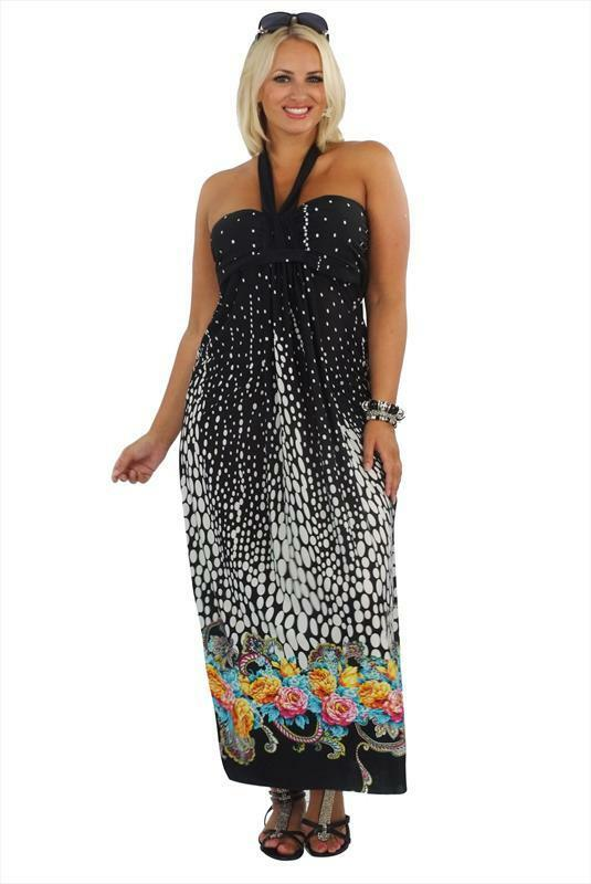 7548cf12dda Details about Monochrome Border Spotty Floral Print Bandeau Maxi Dress 18  20 Black Multi