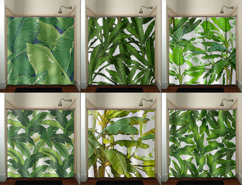 Tropical Jungle Palm Banana Leaf Shower Curtain