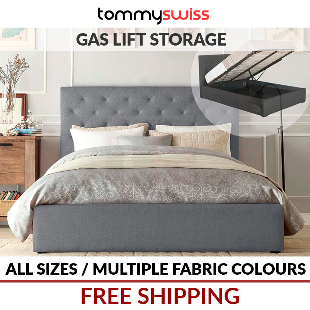 46da1fbf07d6 TOMMY SWISS: NEW KING, QUEEN & DOUBLE Gas Lift Storage Fabric Bed Frame -