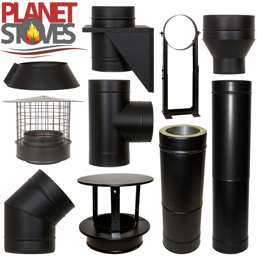 Black Shieldmaster Twin Wall Insulated Flue Stove Pipe