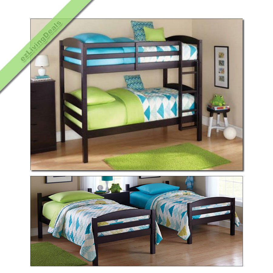 Bunk beds twin over twin kids boys girls bunkbeds for Wooden bunkbeds