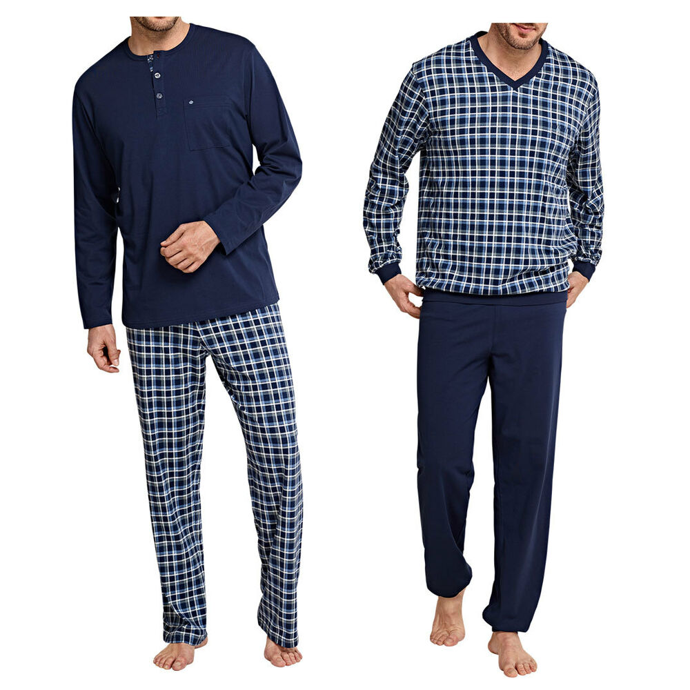 seidensticker herren schlafanzug lang pyjama 100 baumwolle dunkelblau neu ebay. Black Bedroom Furniture Sets. Home Design Ideas