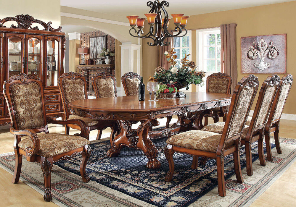 Medieve Elegant Formal 9 Pcs Dining Leaves Table Set Claw