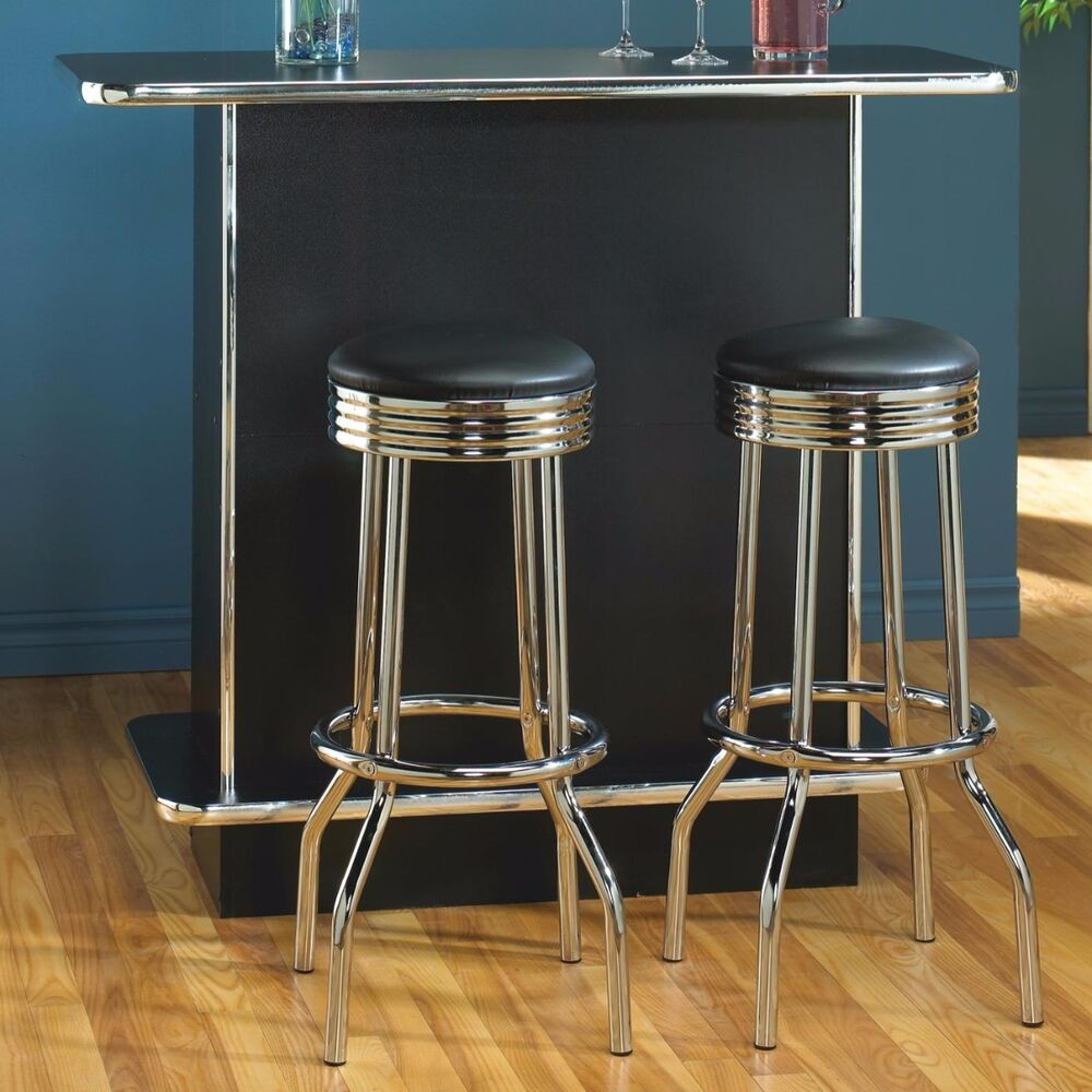 Pair Of Retro Polished Chrome Swivel Bar Stools Ebay