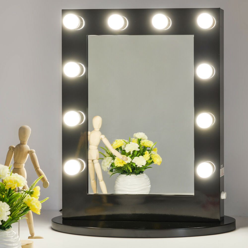 Vanity Light Makeup Mirror : Black Hollywood Makeup Vanity Mirror with Light Dimmer Stage Beauty Mirror eBay