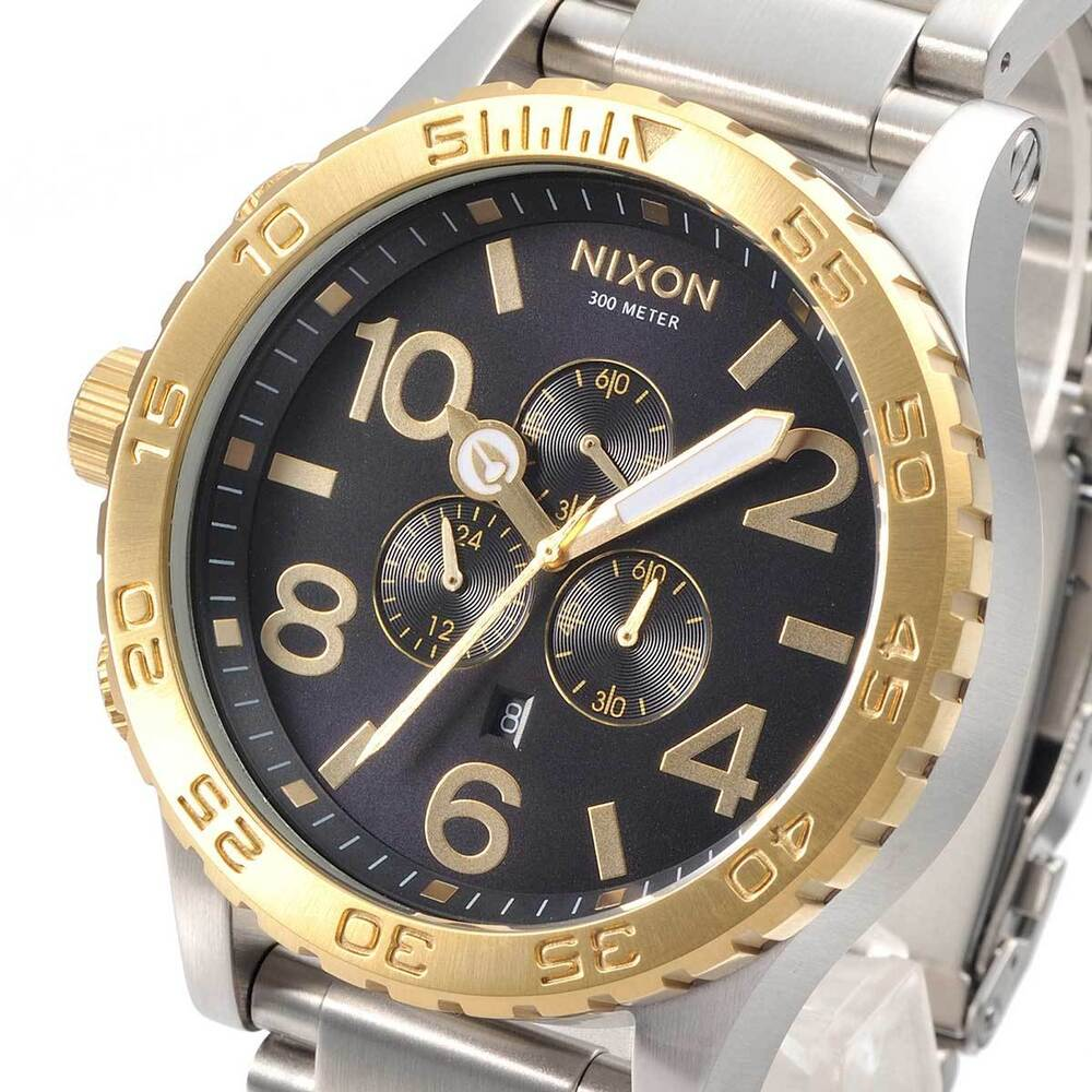 new nixon mens 51 30 chrono gold blue sunray