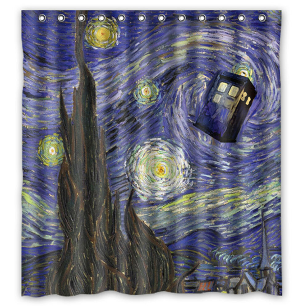 Details About Custom Doctor Who Starry Night Waterproof Shower Curtain 66 X 72